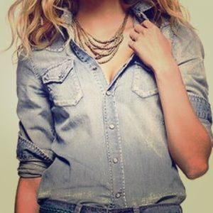 ZARA DENIM PEARL SNAP SHIRT